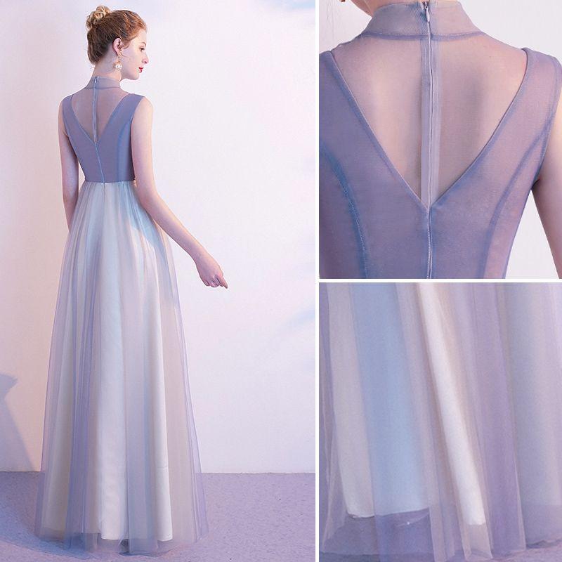 Elegant Grey Evening Dresses  2020 A-Line / Princess High Neck Pearl Rhinestone Lace Flower Sleeveless Floor-Length / Long Formal Dresses