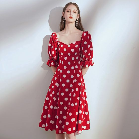 Chic / Beautiful Red Chiffon Homecoming Graduation Dresses 2020 A-Line / Princess Square Neckline Puffy 1/2 Sleeves Spotted Knee-Length Ruffle Backless Formal Dresses