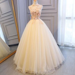 Illusion Champagne See-through Prom Dresses 2018 Ball Gown High Neck Sleeveless Appliques Flower Pearl Beading Floor-Length / Long Ruffle Backless Formal Dresses