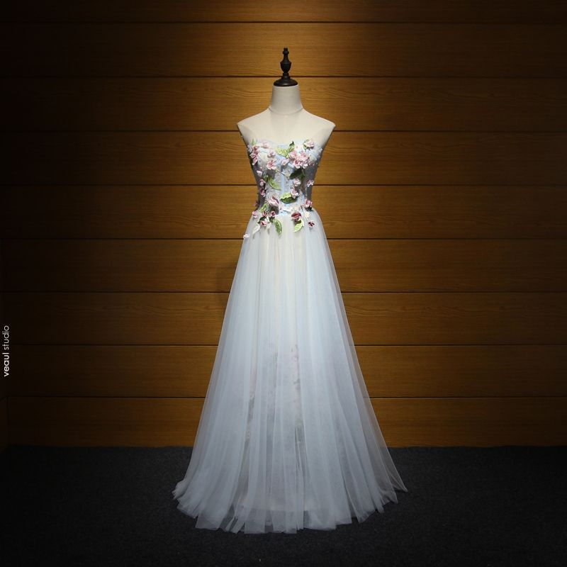 Modern / Fashion Formal Dresses 2017 Evening Dresses  Sky Blue A-Line / Princess Floor-Length / Long Cascading Ruffles Sweetheart Backless Sleeveless Sequins Beading Appliques Flower Leaf