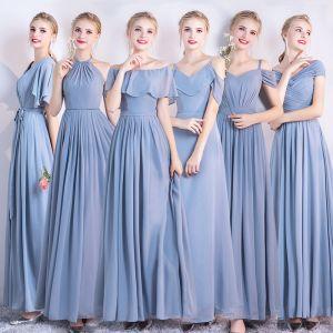 Enkel Himmelen Blå Chiffon Brudepikekjoler 2021 Prinsesse Ryggløse Lange Buste