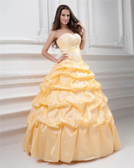 Vestido De Bola Hermoso Una Línea De Vestidos De Gala Novia De Satén Partida Quinceañera