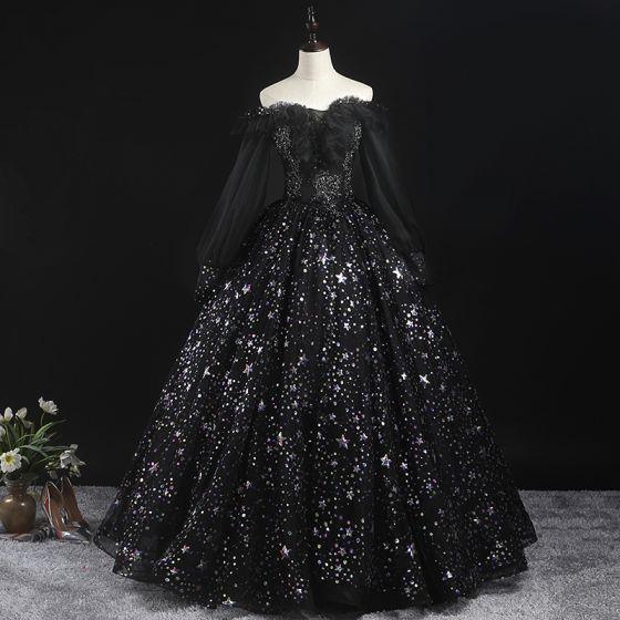 Wiktoriański Styl Czarne Sukienki Na Bal 2020 Suknia Balowa Przy Ramieniu Bufiasta Długie Rękawy Gwiazda Aplikacje Cekiny Długie Wzburzyć Bez Pleców Sukienki Wizytowe