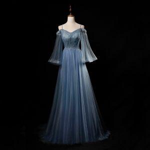 Best Sky Blue Evening Dresses  2019 A-Line / Princess Spaghetti Straps Bell sleeves Beading Floor-Length / Long Ruffle Backless Formal Dresses