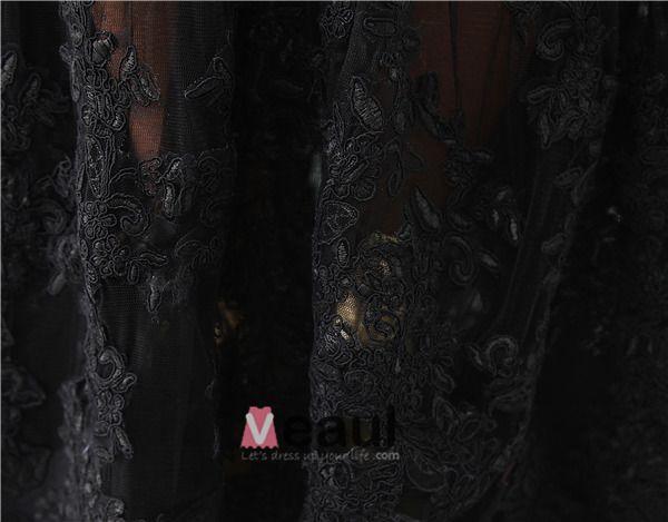 Charmante Bustier Noir Robe De Soirée Robe De Cocktail En Dentelle Noeud De Ceinture