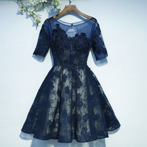 Chic / Beautiful Navy Blue Formal Dresses Graduation Dresses 2017 Lace Sequins Flower Backless 1/2 Sleeves Short A-Line / Princess Scoop Neck