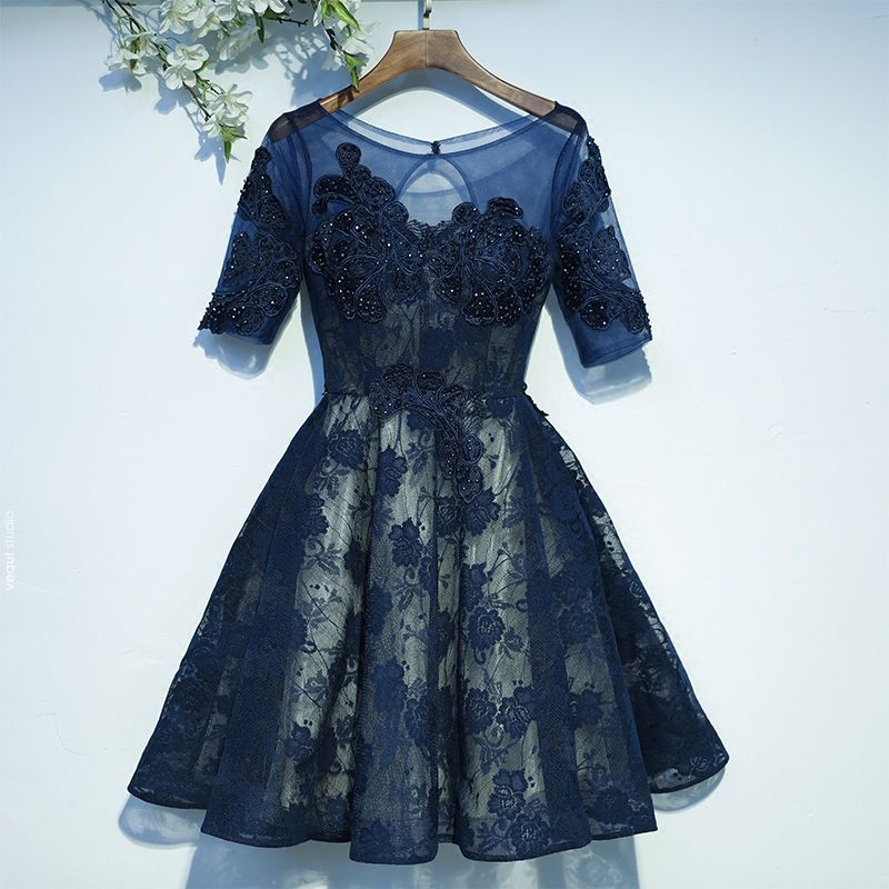Chic / Beautiful Navy Blue Formal Dresses Graduation Dresses 2017 Lace Sequins Flower Backless 1/2 Sleeves Short A-Line / Princess Scoop Neck