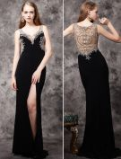 2016 Luxury Handmade Beading Deep V-neck Backless Black Chiffon Evening Dress