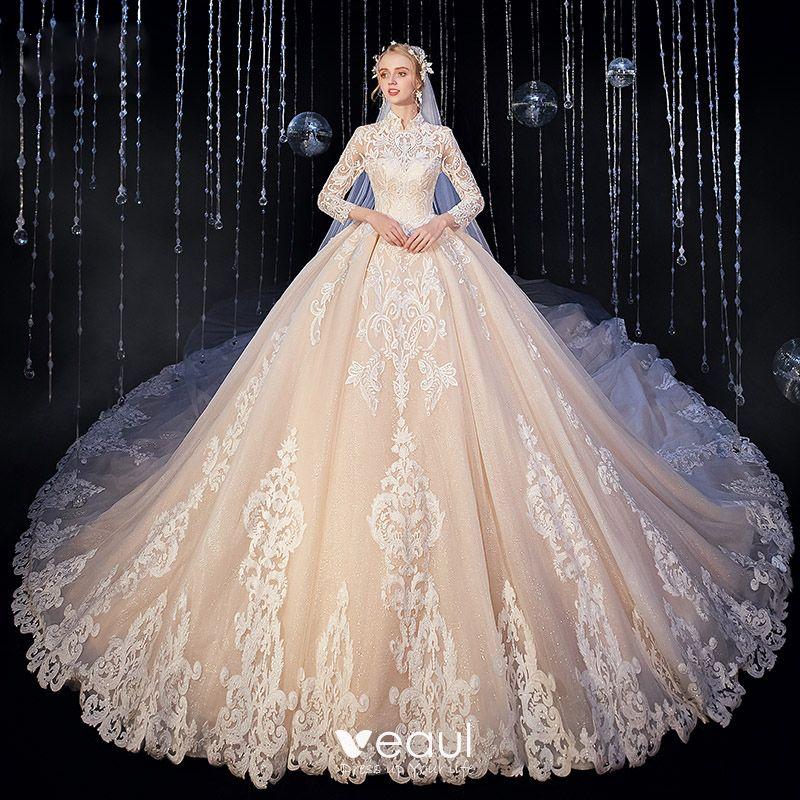 Vintage / Retro Muslim Champagne Wedding Dresses 2020 Ball