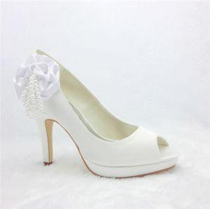 Piękne Białe Buty Ślubne Satynowe Czółenka Toe Peep Z Perłą Kwiatów