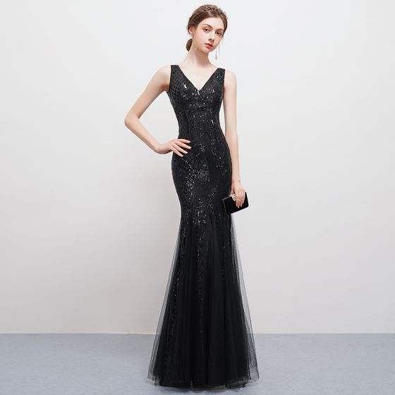 d4b7fb057 Sexy Bling Bling Negro Largos Vestidos de noche 2018 Trumpet   Mermaid Tul  V-Cuello Sin Espalda Rebordear Lentejuelas Vestidos Formales