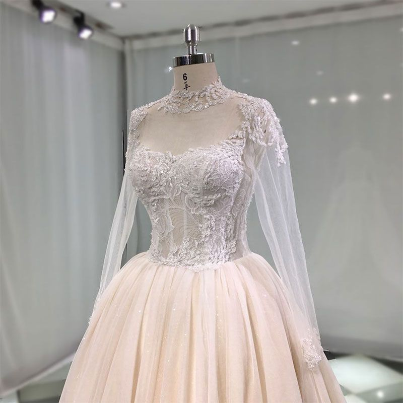 Luxury / Gorgeous Champagne See-through Handmade  Wedding Dresses 2019 Princess High Neck Long Sleeve Beading Glitter Tulle Cathedral Train Ruffle