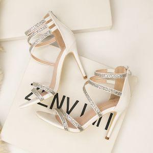 Mode Blanche Soirée Sandales Femme 2020 Paillettes Bride Cheville 10 cm Talons Aiguilles Peep Toes / Bout Ouvert Sandales