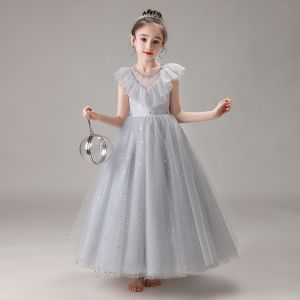 Chic / Beautiful Grey Birthday Flower Girl Dresses 2020 Ball Gown See-through Scoop Neck Sleeveless Beading Sequins Floor-Length / Long Ruffle