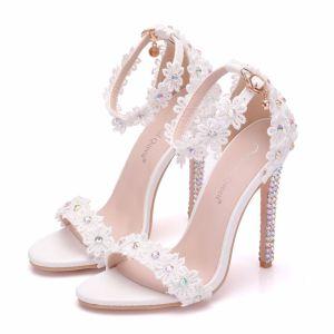 Modern / Fashion White Wedding Shoes 2018 Lace Flower Rhinestone Ankle Strap 11 cm Stiletto Heels Open / Peep Toe Wedding High Heels