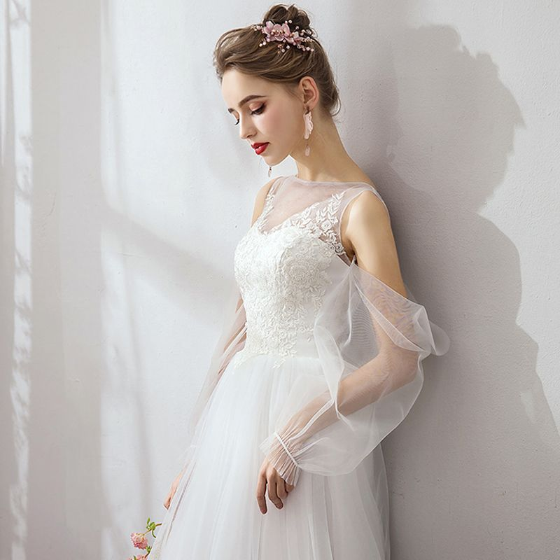 Modest / Simple White Evening Dresses  2019 A-Line / Princess Lace Tulle U-Neck Long Sleeve Appliques Backless Embroidered Honeymoon Resort Wear Summer Formal Dresses