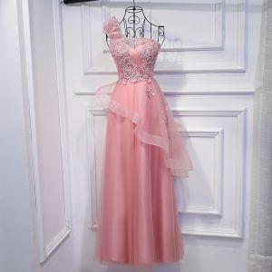 Charmant Perle Rose Robe Pour Mariage 2017 En Dentelle Paillettes Fleur Une épaule Sans Manches Longueur Cheville Empire Robe Demoiselle D'honneur