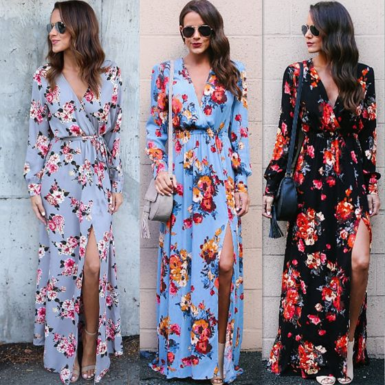 Bohemia Black Casual Maxi Dresses 2018 A-Line / Princess Split Front Printing Sash V-Neck Long Sleeve Floor-Length / Long Women's Clothing