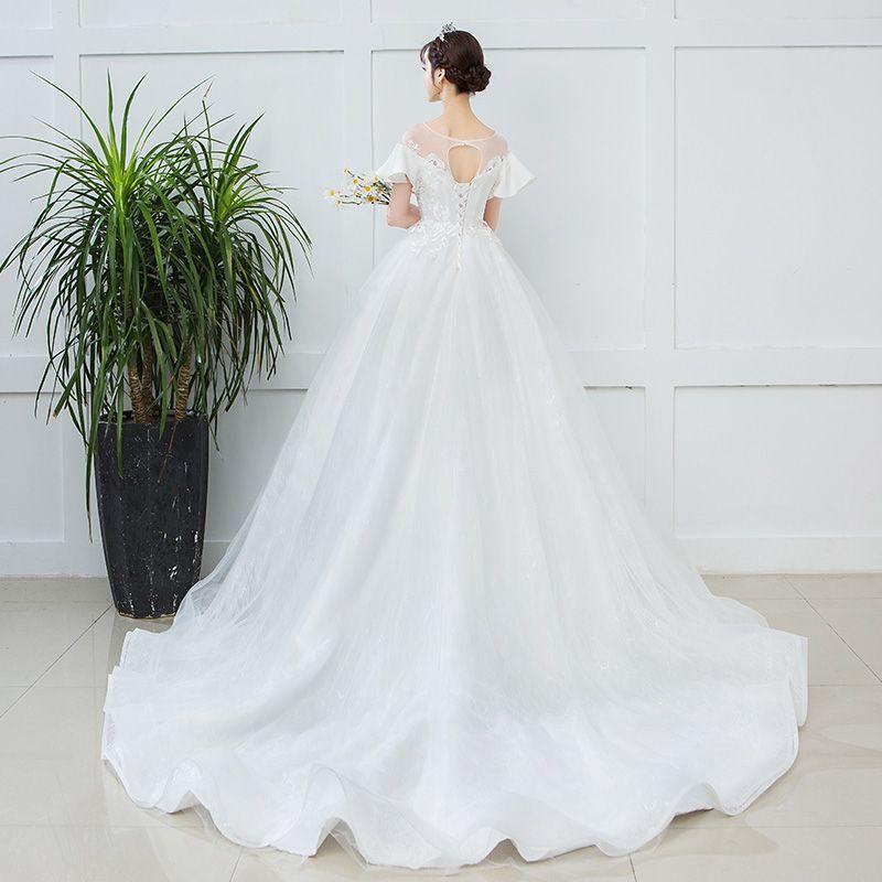 Elegante Ivory / Creme Schwangere Brautkleider / Hochzeitskleider 2019 Empire Rundhalsausschnitt Spitze Blumen Kurze Ärmel Rückenfreies Kapelle-Schleppe