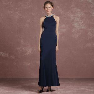 Schlicht Marineblau Abendkleider 2018 Mermaid Stehkragen Bandeau Ärmellos Pailletten Perlenstickerei Perle Knöchellänge Festliche Kleider