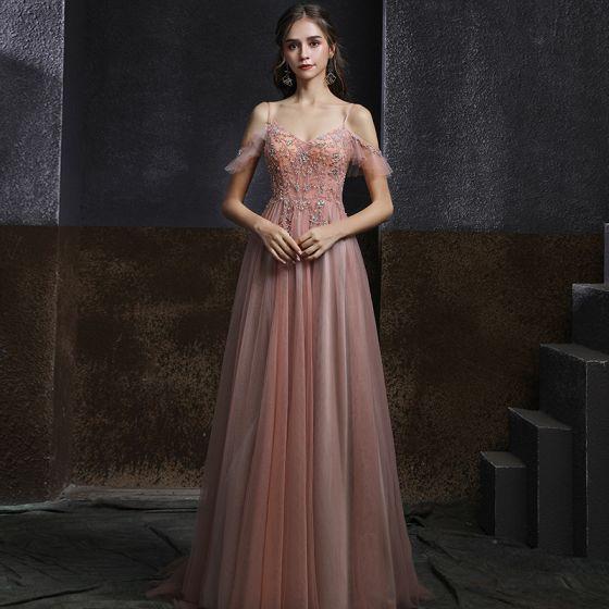 Élégant Perle Rose Dansant Robe De Bal 2020 Princesse Bretelles Spaghetti Manches Courtes Faux Diamant Perlage Longue Volants Dos Nu Robe De Ceremonie