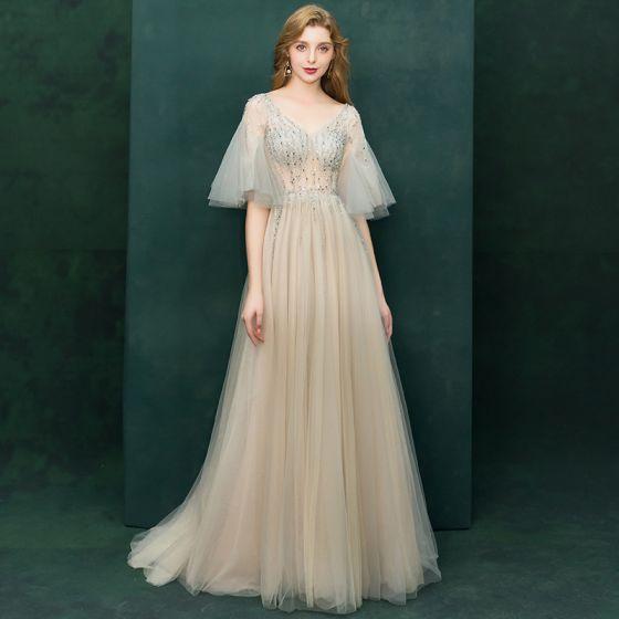Luxus Champagne Gennemsigtig Selskabskjoler 2019 Prinsesse V-Hals Bell ærmer Beading Feje tog Flæse Halterneck Kjoler