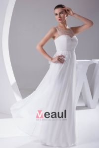 Elegant Tulle De Soie Charmeuse Perles Cou Etage Longueur Robe De Mariée Robe De Mariage