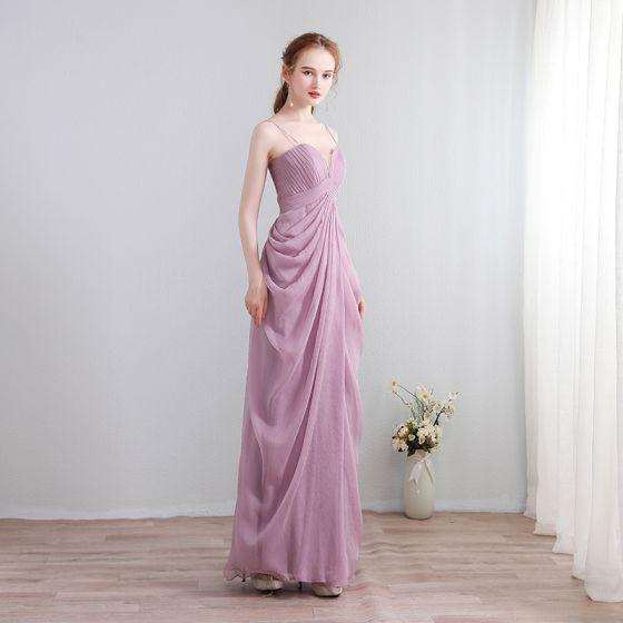 Simple Lilas Robe De Soirée 2018 Chiffon V-Cou Soirée Robe De Ceremonie