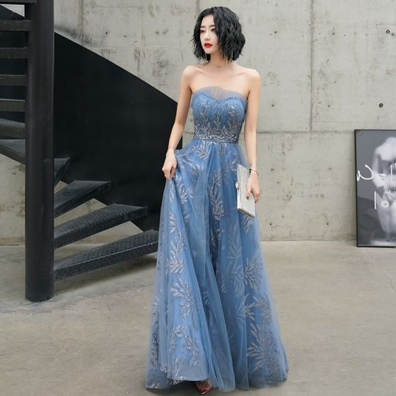 Charming Ocean Blue Evening Dresses  2020 A-Line / Princess Strapless Glitter Beading Sequins Sleeveless Backless Floor-Length / Long Formal Dresses
