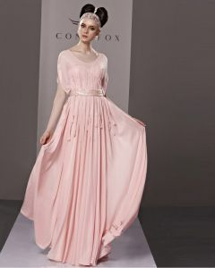 Elegant Scoop Floor Length Beading Chiffon Tulle Evening Dress