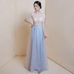 Illusion Bleu Ciel Transparentes Robe De Bal 2020 Princesse Encolure Dégagée Manches Courtes Glitter Tulle Perlage Longue Volants Robe De Ceremonie