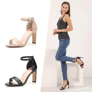 Eenvoudige Zwarte Toevallig Sandalen Dames 2020 Enkelband 9 cm Dikke Hak Spitse Neus Sandalen