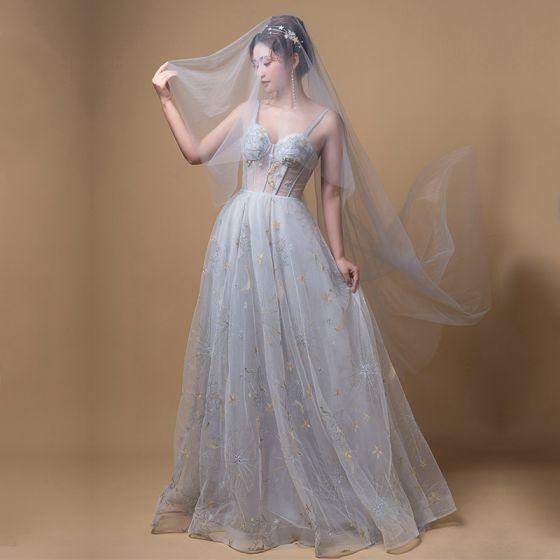 Eleganckie Szary Sukienki Na Bal 2019 Princessa Plecy Bez Rękawów Aplikacje Z Koronki Trenem Sweep Wzburzyć Bez Pleców Sukienki Wizytowe