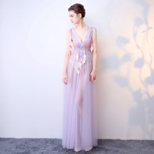Chic / Beautiful Purple Evening Dresses  2017 A-Line / Princess V-Neck Lace Leaf Backless Beading Handmade  Evening Party Formal Dresses