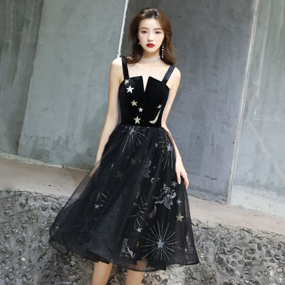 Modern / Fashion Black Homecoming Graduation Dresses 2019 A-Line / Princess Spaghetti Straps Lace Star Sleeveless Backless Tea-length Formal Dresses