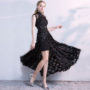 Chic / Beautiful Black Detachable Evening Dresses  2017 A-Line / Princess Lace Flower High Neck Sleeveless Ankle Length Formal Dresses