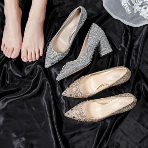 Sparkly Bling Bling Silver Wedding Shoes 2020 7 cm Beading Pearl Rhinestone Polyester Sequins Pointed Toe Cocktail Party Evening Party Womens Shoes