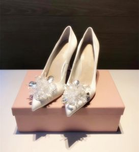 Chic / Belle Cendrillon Ivoire Chaussure De Mariée 2019 Cristal 10 cm Talons Aiguilles À Bout Pointu Mariage Escarpins