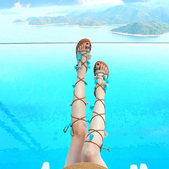 Modern / Fashion Bohemia Brown Womens Sandals Beach Leather Summer Beading Strappy Tassel Flat Sandals Womens Shoes 2019