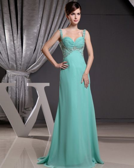 Fashion Chiffon Charmeuse Silk Beaded Pleated Spaghetti Straps Court Train Sleeveless Women Evening Dress