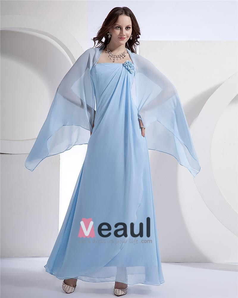 Women Chiffon Strapless Floor Length Bridesmaid Evening Dress Gown
