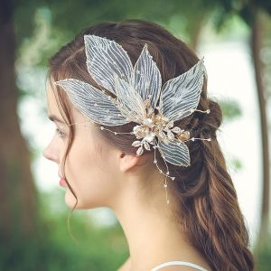 Flower Fairy Gold Headpieces Bridal Hair Accessories 2020 Alloy Leaf Tulle Beading Crystal Wedding Accessories