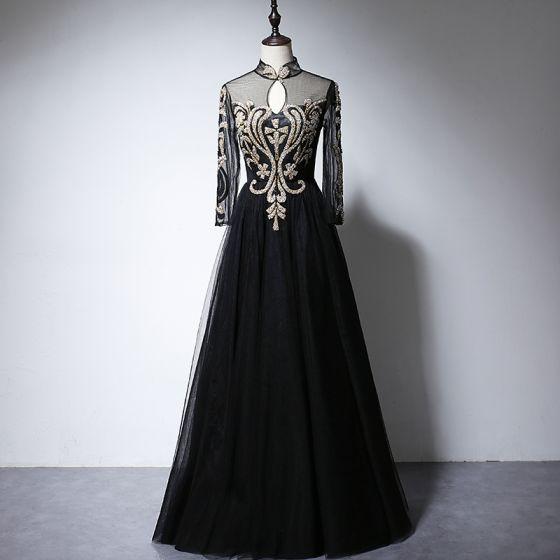 Vintage Schwarz Durchsichtige Abendkleider 2020 A Linie Stehkragen Lange Ärmel Applikationen Glanz Lange Rüschen Festliche Kleider