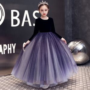 Elegant Purple Velour Winter Birthday Flower Girl Dresses 2020 A-Line / Princess Scoop Neck Long Sleeve Glitter Tulle Floor-Length / Long Ruffle