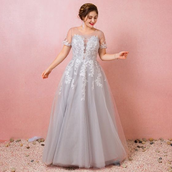 Charming Grey Plus Size Evening Dresses  2018 A-Line / Princess V-Neck Tulle Lace-up Appliques Backless Summer Short Sleeve Evening Party Formal Dresses