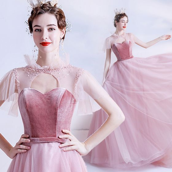 Fashion Candy Pink See-through Prom Dresses 2020 A-Line / Princess High Neck Short Sleeve Sash Beading Glitter Tulle Sweep Train Ruffle Backless Formal Dresses