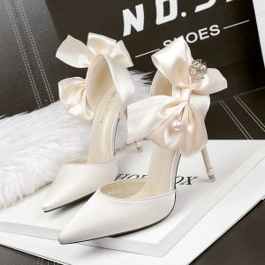 Mode Champagne Promo Chaussures Femmes 2020 Perle Noeud 10 cm Talons Aiguilles À Bout Pointu Talons Hauts