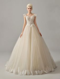 Luxury Square Neckline Beading Corset Ball Gown Champagne Organza Wedding Dress
