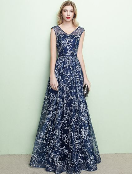 Sparkly Evening Dresses 2017 V-neck Embroidered Embroidered Stripe Navy Blue Dress