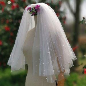 Elegantes Romántico Blanco Cortos Velo de novia 2020 Tul Rebordear Perla Boda Accesorios